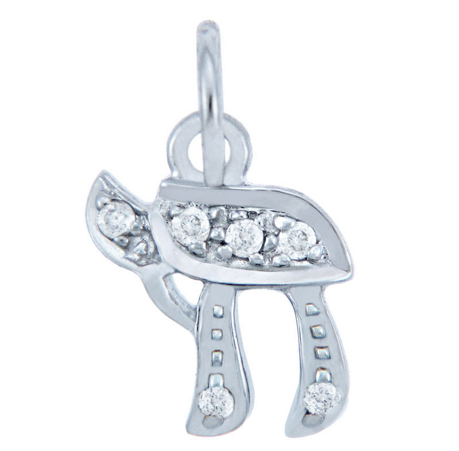 Diamond Pendants - Jewish White Gold Chai Pendant with Diamonds