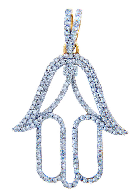 Diamond Pendants - Gold Hamsa Pendant with Diamonds