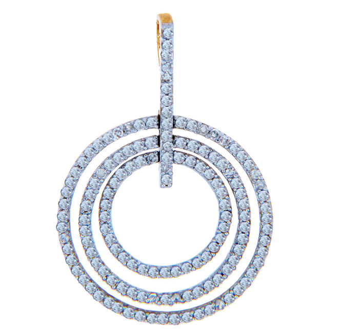 Diamond Pendants - Three Circles Gold Pendant with Diamonds