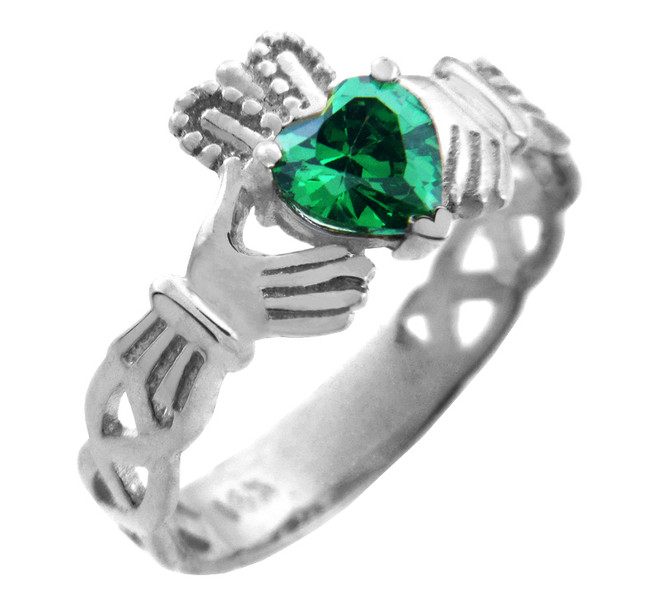 Silver Claddagh Trinity Band with Emerald Green CZ Heart
