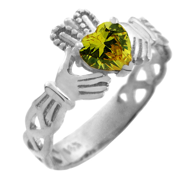 White Gold Claddagh Trinity Band with Peridot Green CZ Heart