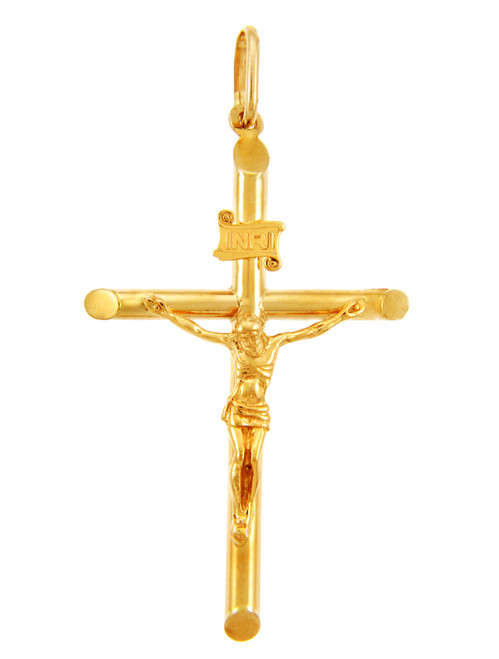 Gold Crosses and Crucifixes - Gold Crucifix Pendant, Medium Size