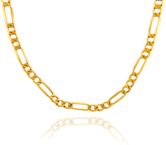 Gold Chains: Hollow Figaro 10K Gold Chain 2.12mm