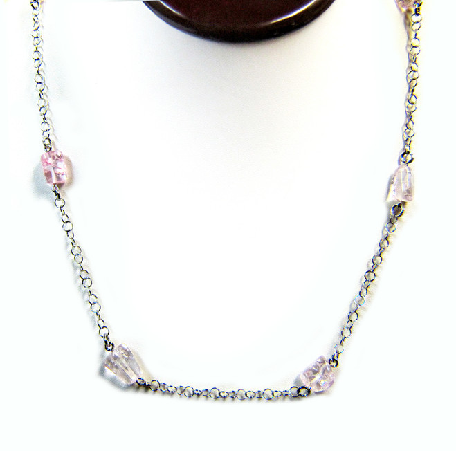 Gemstone Necklaces - Splendor Pink Quarz Long Necklace in Sterling Silver 40 Inch