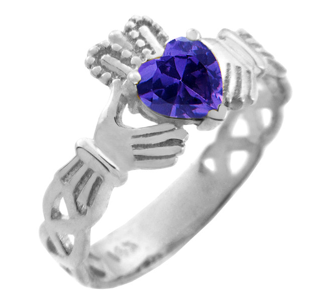 White Gold Claddagh Trinity Band with Amethyst CZ Heart