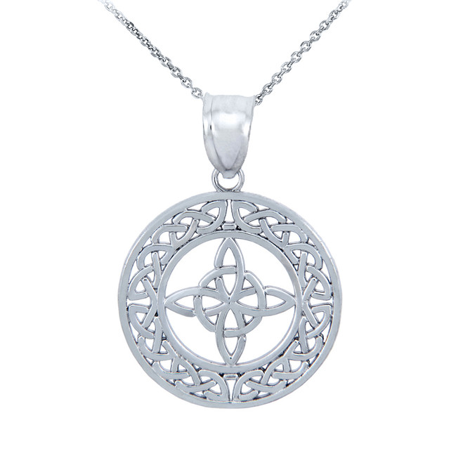Silver Round Trinity Knot Pendant Necklace