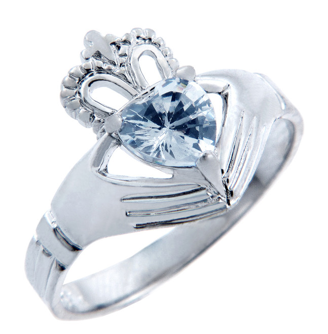 Silver Claddagh Band with Aquamarine CZ Heart