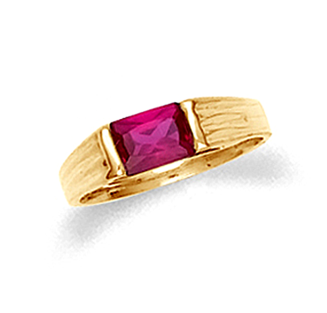 10k or 14k yellow gold baby ring with ruby red cubic zirconia.