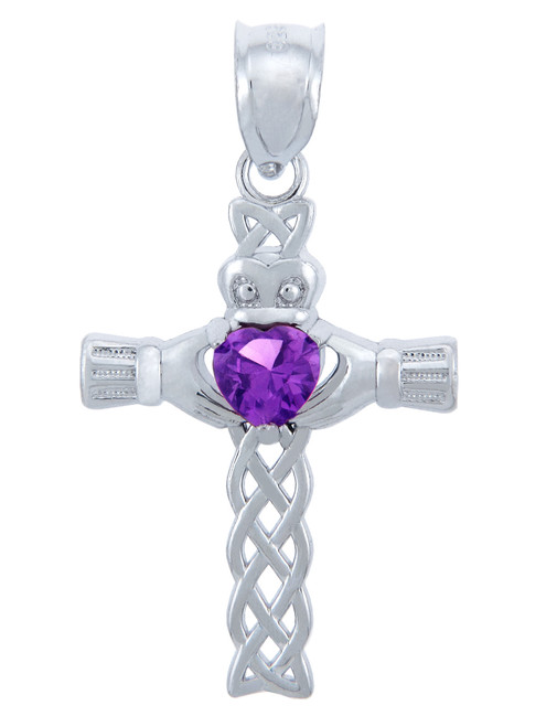 Silver Celtic Cross Pendant with Amethyst CZ Heart