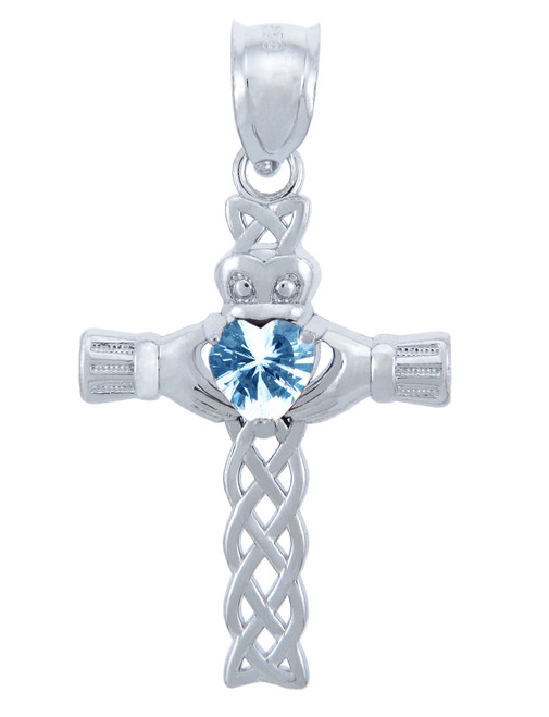 Silver Celtic Cross Pendant with Aquamarine CZ Heart