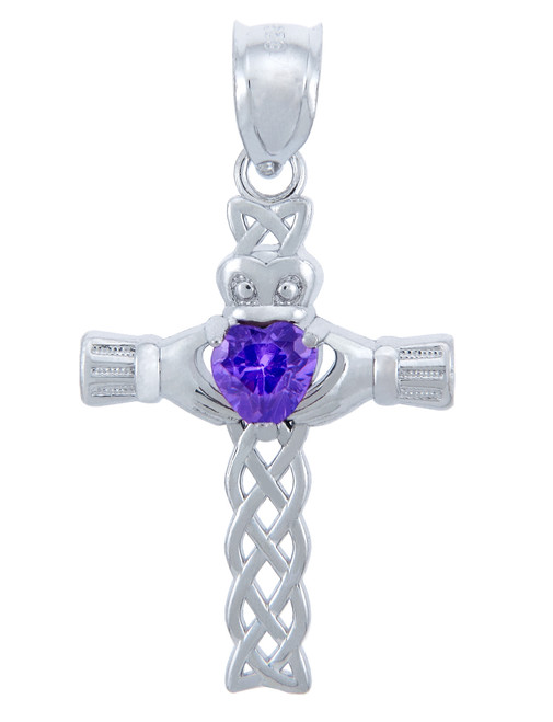 Silver Celtic Cross Pendant with Alexandrite CZ Heart