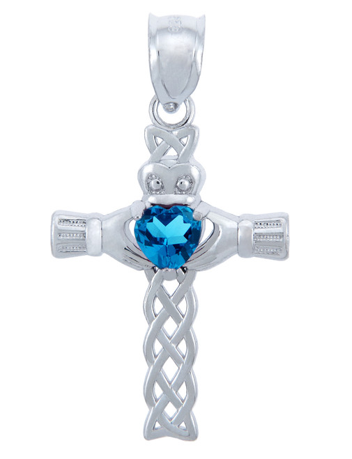 Silver Celtic Cross Pendant with Blue CZ Heart