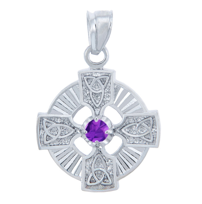 Silver Celtic Trinity Pendant with Amethyst CZ Stone