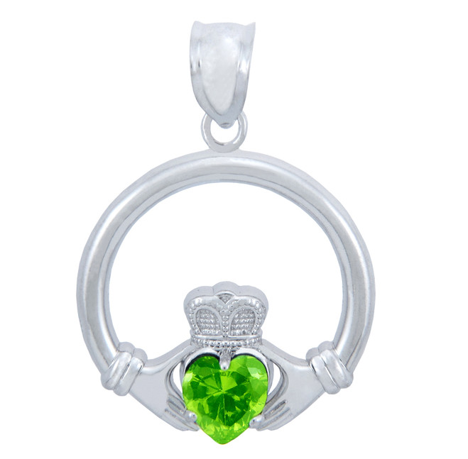 Silver Claddagh Pendant with Peridot CZ Heart (1 Inch)