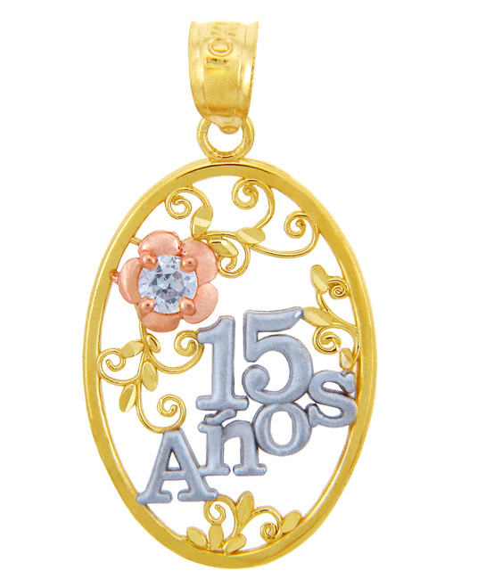 Gold Pendants - Sweet 15 Años- Quinceanera Pendant Flower in Cubic Zirconia