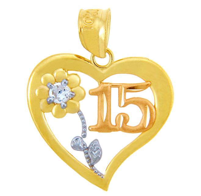 Gold Sweet 15 Años Quinceanera Pendant Heart w/ Cubic Zirconia