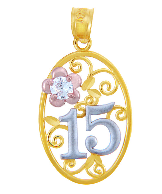 Gold Pendants - Sweet 15 Años Quinceanera Pendant with Cubic Zirconia