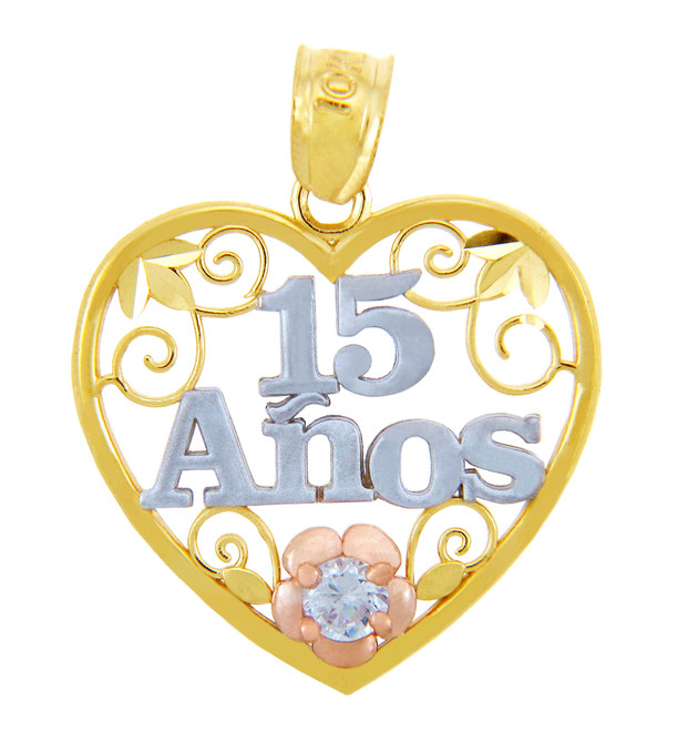 Sweet 15 Años Quinceanera Gold Heart Pendant with Cubic Zirconia