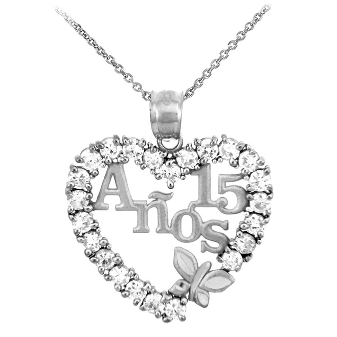 Silver Sweet 15 Anos Quinceanera Pendant Necklace with Cubic Zirconia Heart with Butterfly