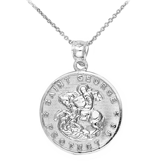 Sterling Silver Saint George Coin Pendant Necklace