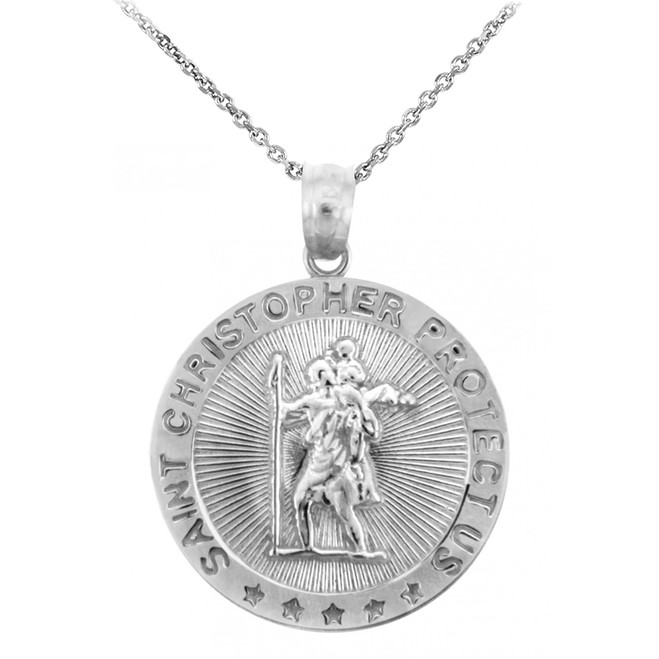 St. Christopher Sterling Silver Coin Pendant Necklace