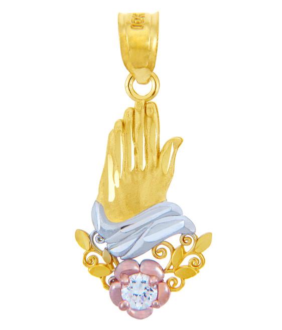 Gold Pendants - The Prayer Hand Cubic Zirconia Gold Pendant