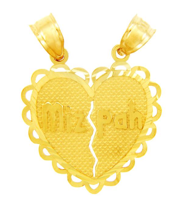 Jewish Charms and Pendants -  Mizpah Jewish Gold Pendant