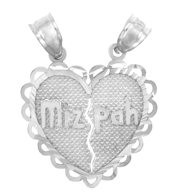 Jewish Charms and Pendants -  Mizpah Jewish White Gold Pendant