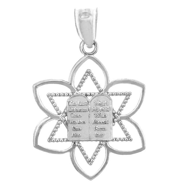Jewish Charms and Pendants -  Mizpah Star of David White Gold Pendant