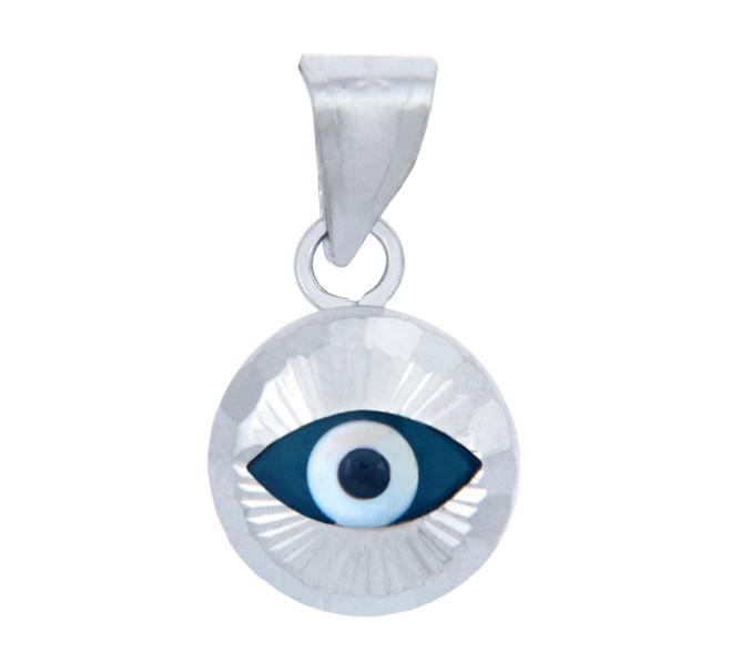 Bright Blue Glass Evil Eye in 14K White Gold