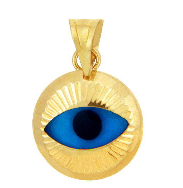 Bright Blue Evil Eye in 14K Yellow Gold