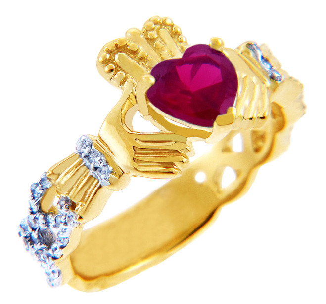 Gold Diamond Claddagh Ring 0.40 Carats with Ruby Stone
