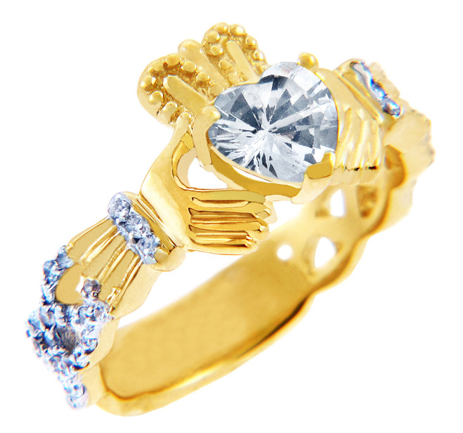 Gold Diamond Claddagh Ring 0.40 Carats with Clear Stone