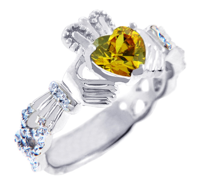 White Gold Diamond Claddagh Ring 0.40 Carats with Citrine Stone