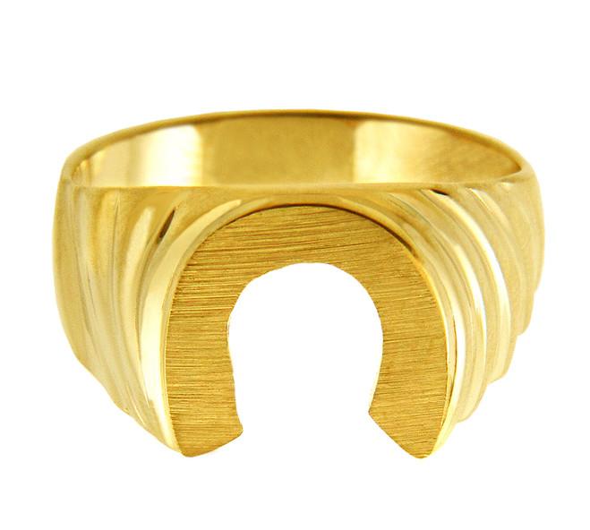 Men's Signet Gold Rings - Lucky Horseshoe Gold Ring