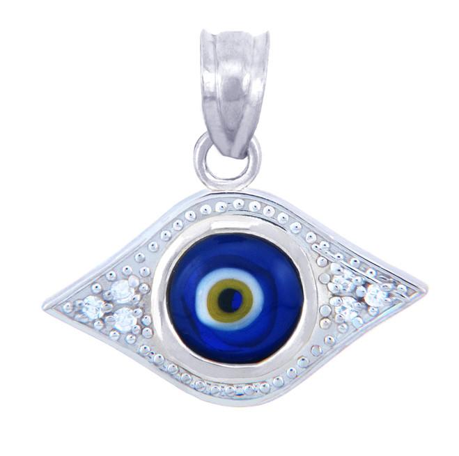 White Gold Diamond Evil Eye Blue Pendant