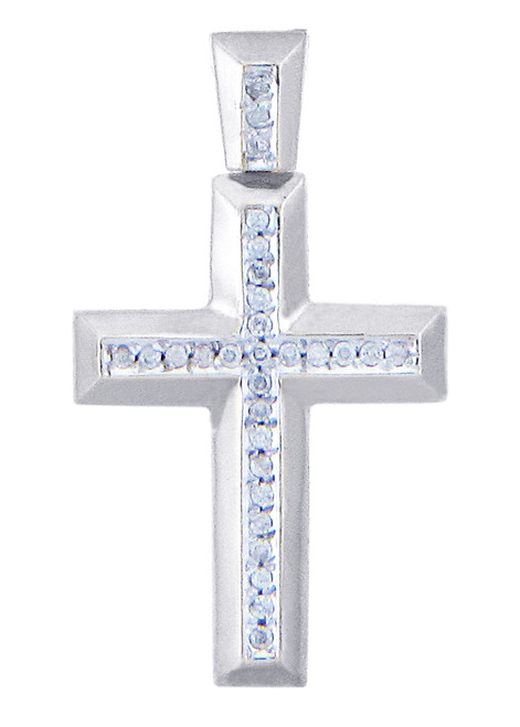 White Gold Cross Diamonds Pendant