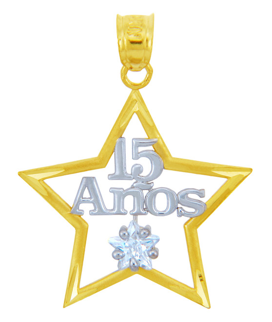 Sweet 15 Anos - Quinceanera Two-Tone Gold CZ Star Pendant
