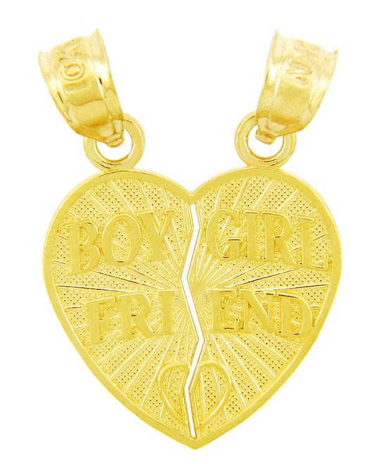 Gold Pendants - Boy Girl Friend Heart Pendant
