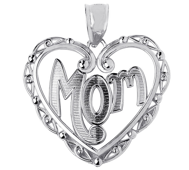 Mom Silver Fancy Pendant In Heart