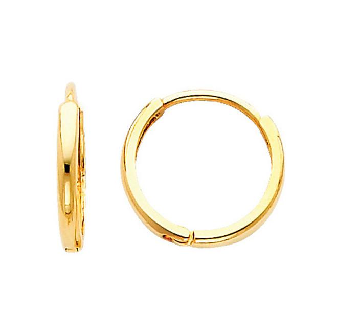 Classic  Yellow Gold  Round Huggies Earrings