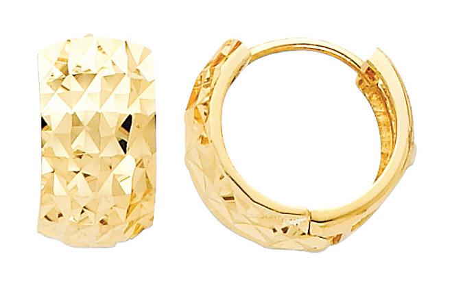 Large Diamond Cut Yellow Gold Huggie Earrings