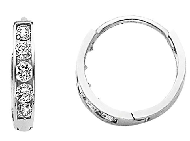 Small CZ Circle White Gold Huggie Earrings