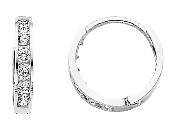 Small CZ White Gold Huggie Earrings