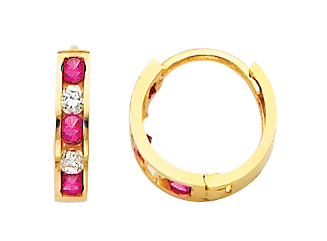 Small Yellow Gold  Red White  CZ Huggie Earrings