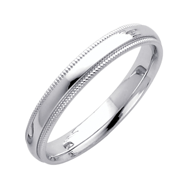 14K White Gold Milgrain Comfort Fit Wedding Band 3MM