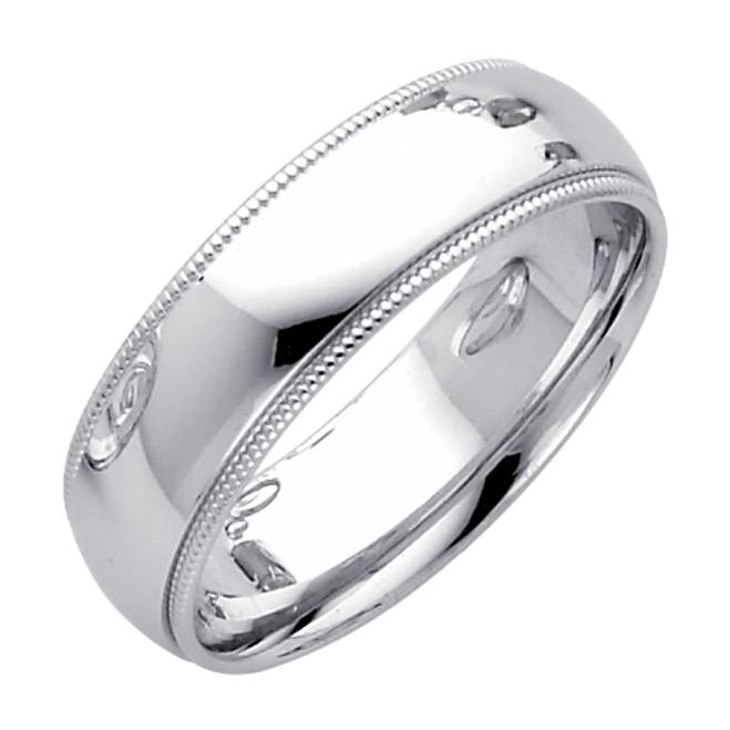 14K White Gold Milgrain Comfort Fit Wedding Band 6MM