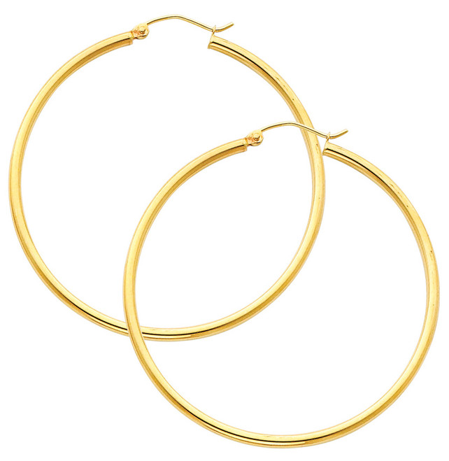 Yellow Gold Hoop Earring- 2.5 Inches