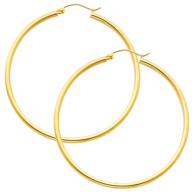 Yellow Gold Hoop Earring -2.25 Inches