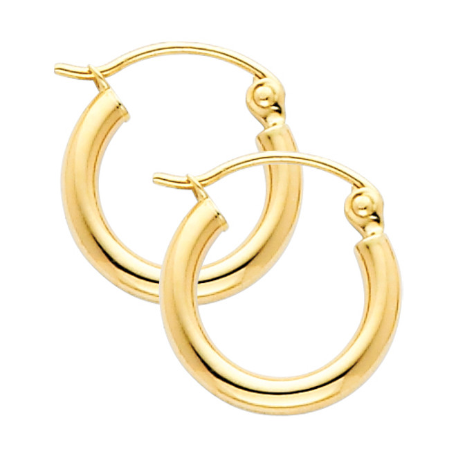 Yellow Gold Hoop Earring -0.25 Inches
